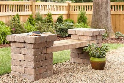 Brick and plank outdoor bench