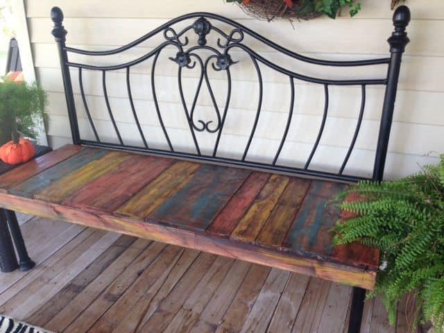 DIY metal headboard bench