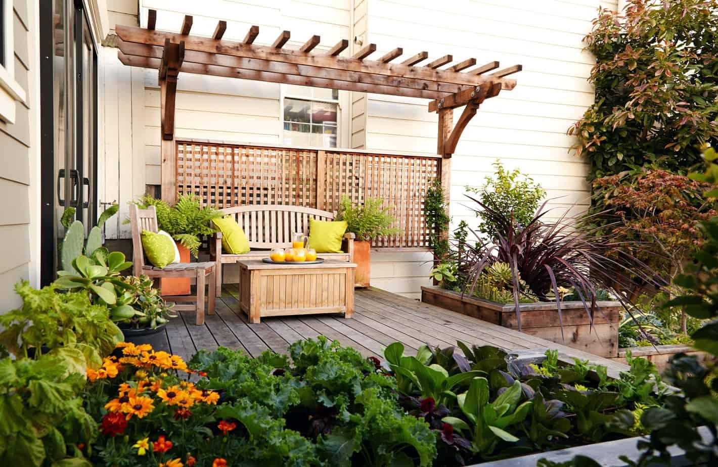 Garden bench in a wooden pergola