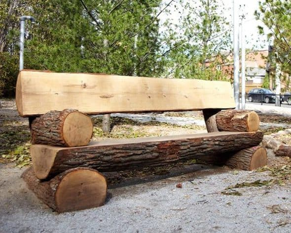 Rustic log garden bench