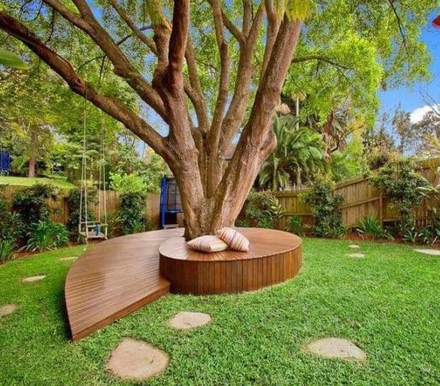 Tree bench with modern design