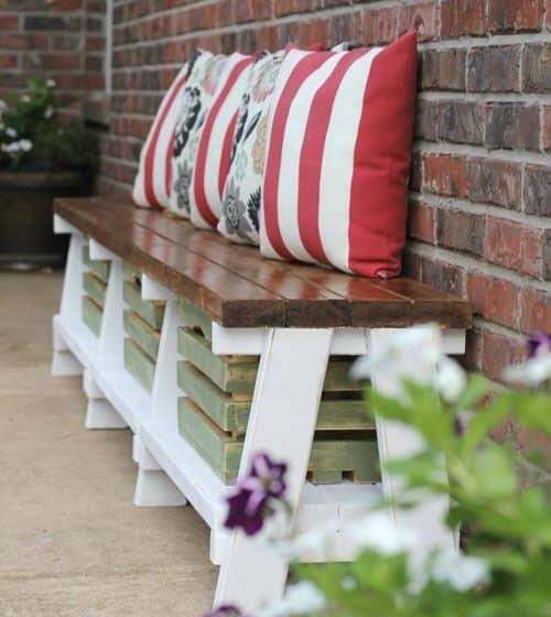 DIY farmhouse style bench with storage