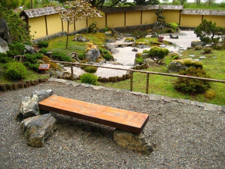 Zen garden inspired stone bench