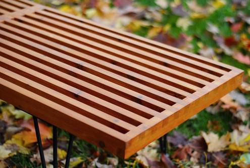 Wood slat bench in modern style