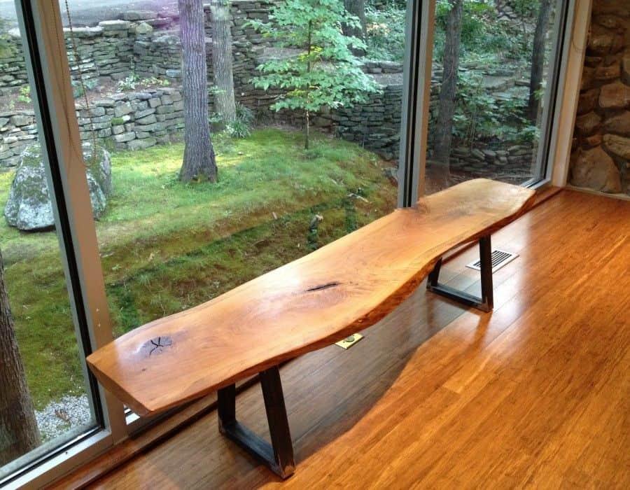 Wooden bench on chrome legs